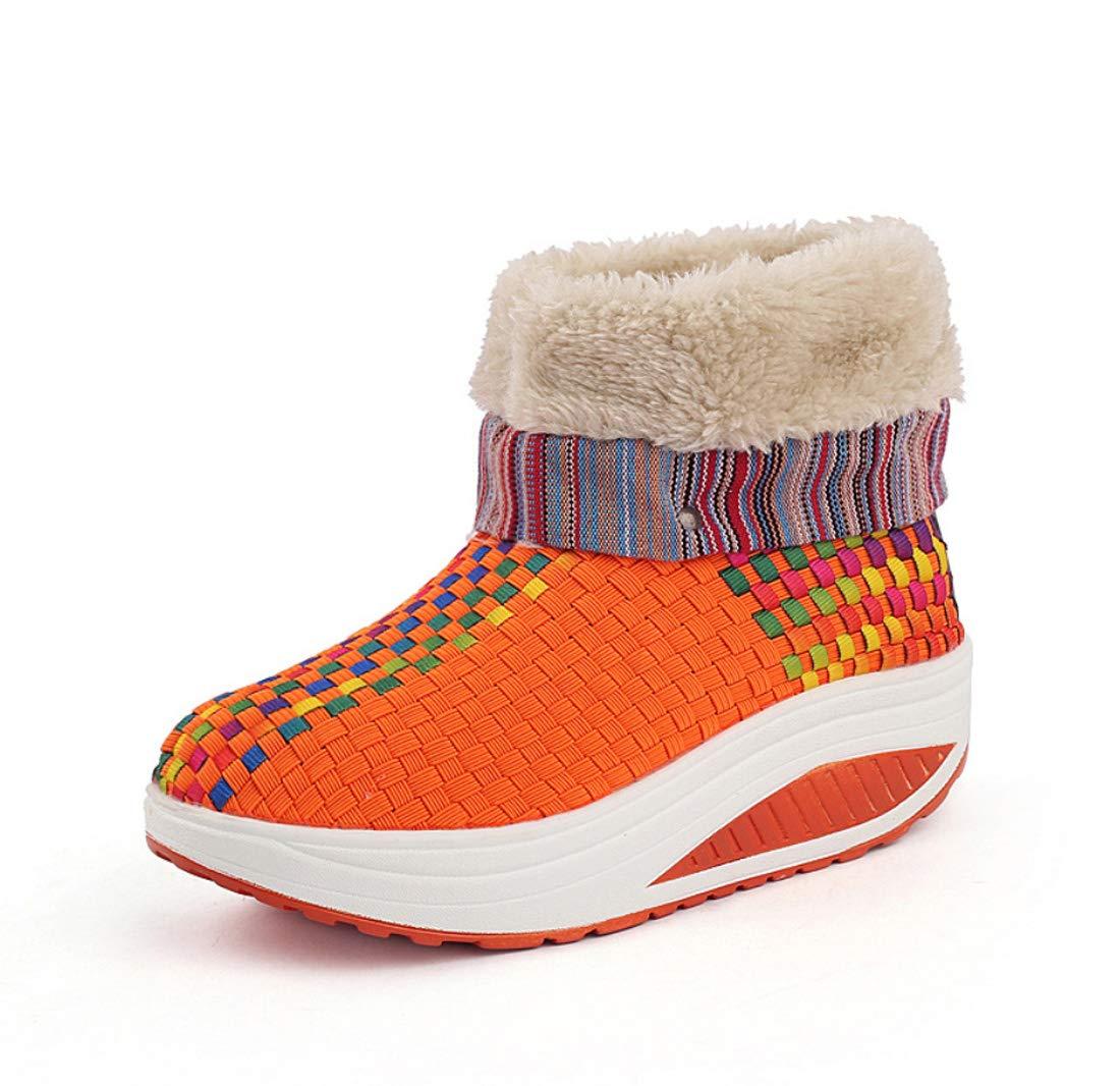DANDANJIE Damenschuhe Turnschuhe Wanderschuhe Keil Ferse Sport Spitzen-Stiefelies Winter