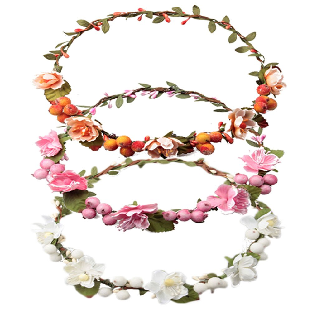 DRESHOW 3 Pack Flower Crown for Women Berries Wreath Boho Headband Festivals Wedding, Pink, White, Orange