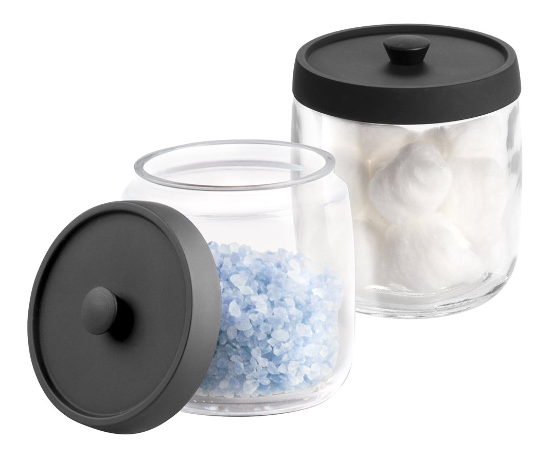mDesign Bathroom Vanity Glass Storage Organizer Canister Apothecary Jar for Cotton Swabs, Rounds, Balls, Makeup Sponges, Beauty Blenders, Bath Salts - 2 Pack - Clear/Matte Black