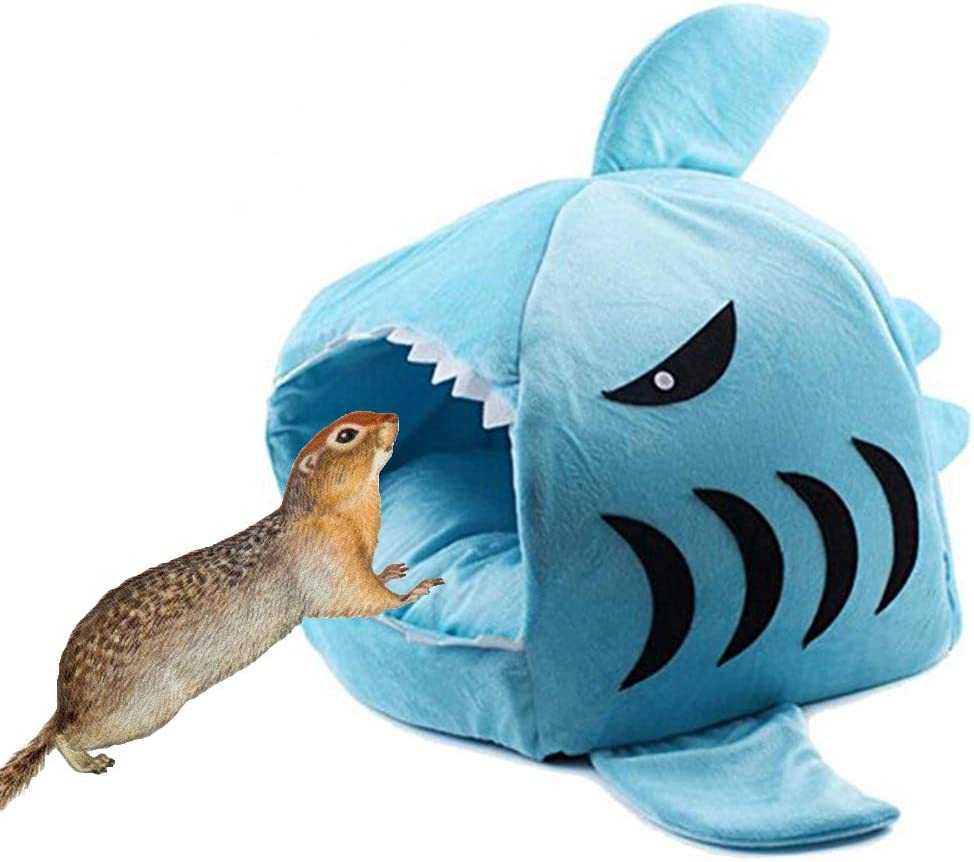 Yu-Xianag Shark Hamster Nest Small Animal House Small Pet Warm Autumn and Winter Cotton Nest Toys for Rat Totoro Squirrel Bed