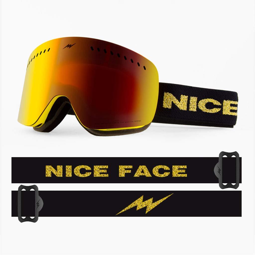 SX-CHENG Winddichte Brille - Ski Goggles mit Fast Objektivwechsel UV400 Schutz Anti-Fog-PC-Objektiv Anti-Rutsch-Erwachsene Ski Snowboard Skating Goggles
