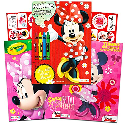 Disney Minnie Mouse Coloring Book Set -- 3 Jumbo Coloring Books with Stickers (Party Supplies Pack) -