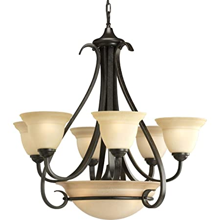 Progress Lighting P4417-77 6-Light Two-Tier Torino Chandelier, Forged Bronze