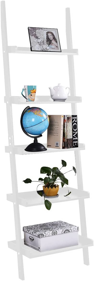 TANGKULA Ladder Bookcase 5-Tier Wood Leaning Shelf Wall Plant Shelf Ladder