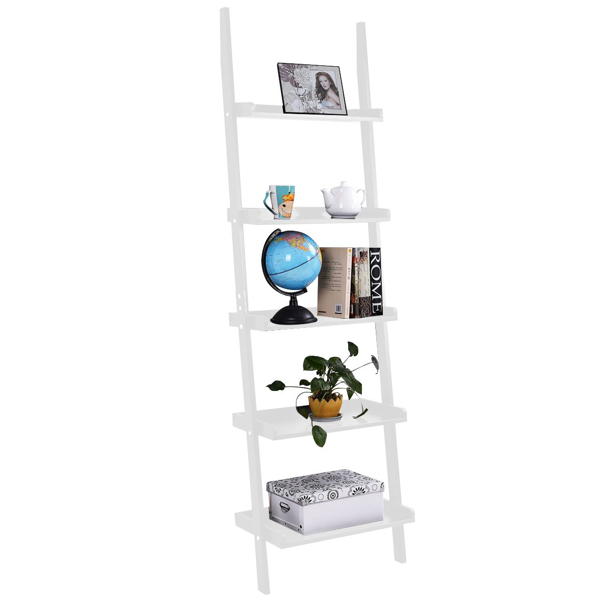 TANGKULA Ladder Bookcase 5-Tier Wood Leaning Shelf Wall Plant Shelf Ladder for Home Office Modern Flower Book Display Shelf Storage Rack Stable A-Frame Wooden Ladder Shelf (White) by Tangkula