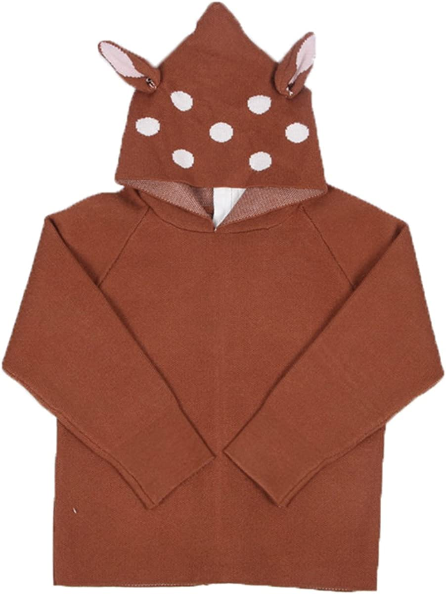 Lemonkid Trendy Fall/&Winter Kids Deer Ear Shape Cardigan Hooded Pullover Sweater