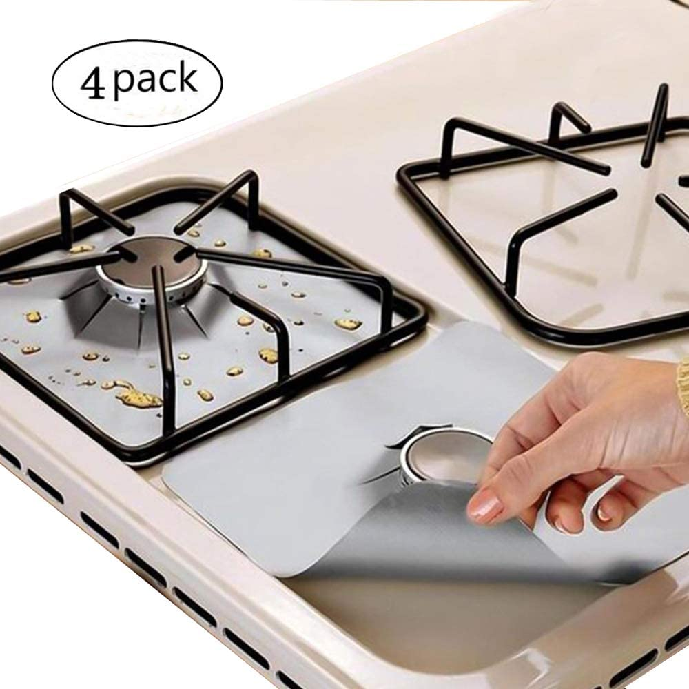 "Gas Range Protectors,EatronChoi Stovetop Burner Protectors Covers, 10.6"" x 10.6"" Gas Hob Protectors,Reusable,Non-Stick and Dishwasher Safe, Easy to Clean - FDA Approved (Pack 4) (Silver)"