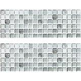Beaustile Mono Crome Silver Mosaic 3D Wall Sticker Pack of 2 Home Decor Fire Retardant Backsplash Wallpaper Bathroom Kitchen DIY Plain Design
