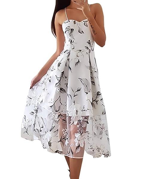 Huixin Vestidos De Fiesta Para Bodas Verano Mujer Elegantes Medium Largos Vestido De Noche Vintage Transparente Estampado Floral Sin Mangas A-Line Backless ...