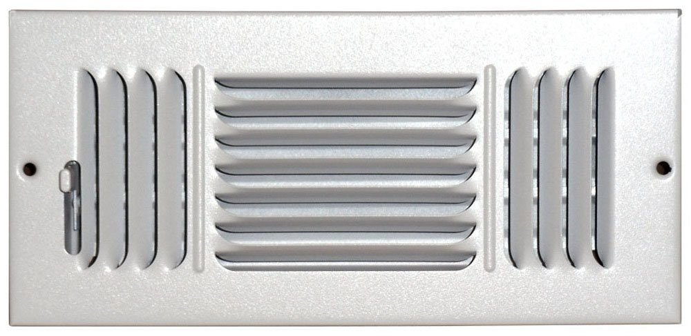 Speedi-Grille SG-410 CW3 4-Inch by 10-Inch White Ceiling/Sidewall Vent Register with 3 Way Deflection