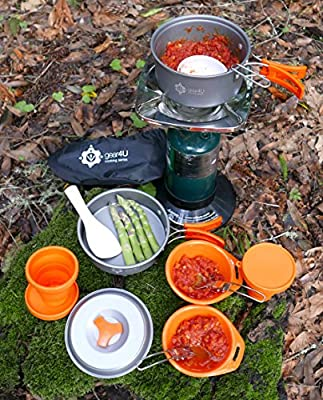 Gear4U: Cooking Series - Best 13 Piece Camping Cookware Set - Mess Kit - Non-Stick Anodized Aluminum Gear - Complete Lightweight Folding Kit for Outdoor Camping, Hiking & Backpacking