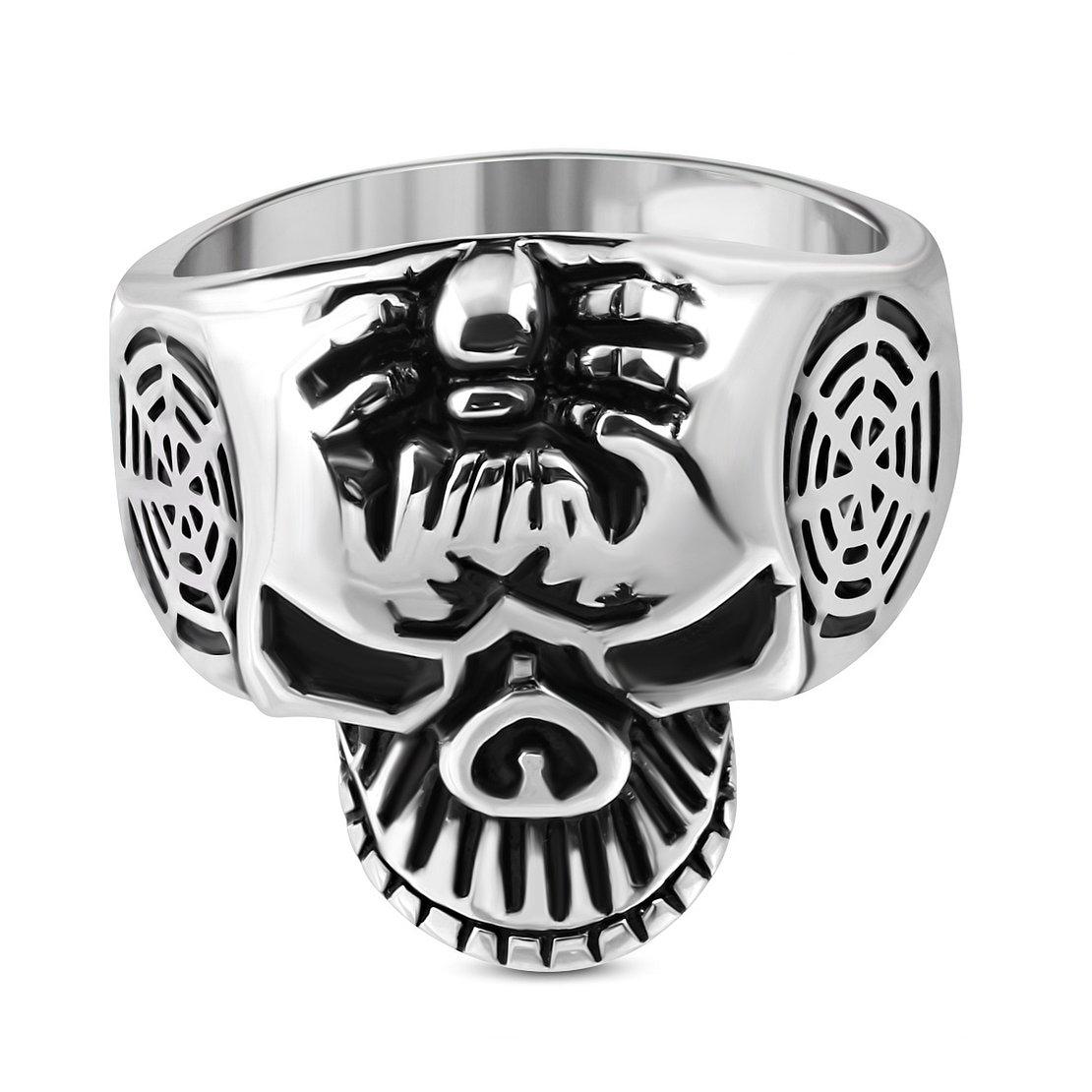 Stainless Steel 2 Color Cluster Ghost Skull Biker Ring