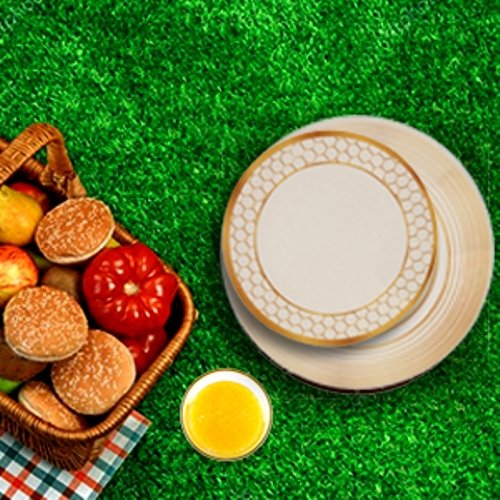 Melange 12-Piece 100 Melamine Dinnerware Set Gold Tree Collection Shatter-Proof and Chip-Resistant Melamine Plates and Bowls Dinner Plate, Salad Plate Soup Bowl 4 Each