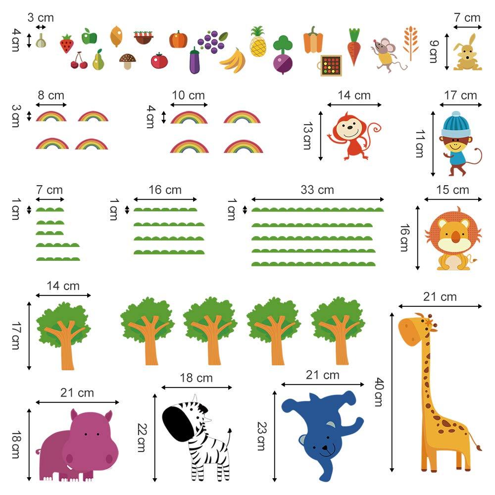 decalmile Adesivi Murali Foresta Animale Adesivi da Parete Giraffa Leone Scimmia Decorazione Murale Bambini Camerette Asilo Nido Camera da Letto Sala Giochi