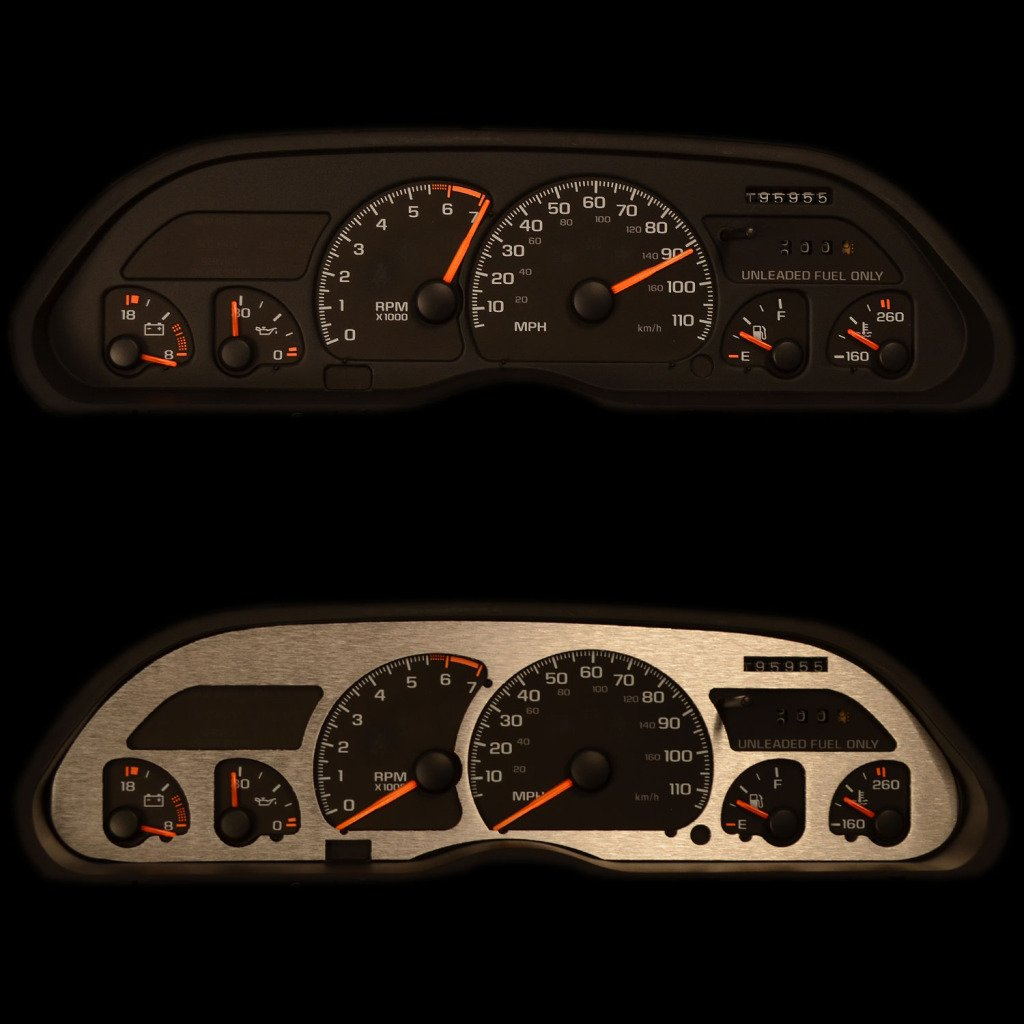 RPM Gauges 1992-1996 Ford Bronco with Tachometer Automatic Transmission BZL-173-Aluminum-01 Ferreus Industries Brushed Aluminum Gauge Cluster Dash Bezel Trim fits