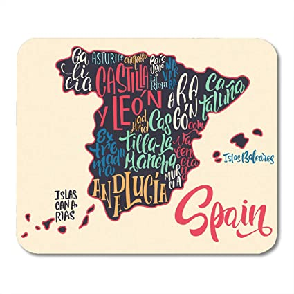 Spain Map Of Provinces.Amazon Com Emvency Mouse Pads Silhouette Of The Map Spain Names