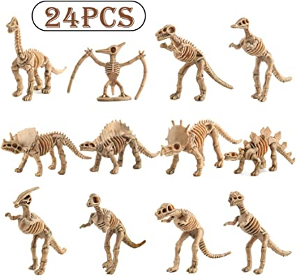 Educational Gift for Science Play WedFeir 24pcs Dinosaur Fossil Skeletons Party Favor /& Decorations. 3.7 Inch Assorted Figures Dino Bones Dino Sand Dig