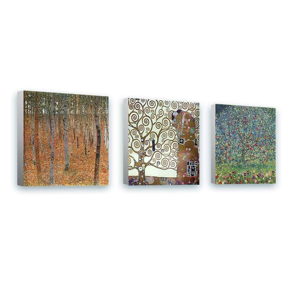 Alonline Art - Forest Tree Apple by Gustav Klimt | Framed Stretched Canvas on a Ready to Hang Frame - 100% Cotton - Gallery Wrapped | 12''x12'' - 30x30cm | Set of 3 Lot | Wall Art Home Decor Picture