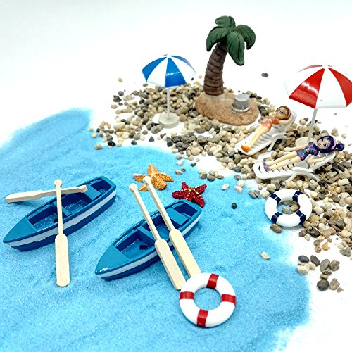 EMiEN 18 Pieces Beach Style Miniature Ornament Kits Set for DIY Fairy Garden Dollhouse Decoration, Blue Sand,Cute Girls,Beach Chair,Boat,Oars,Beach Umbrellas, Coconut Palm,Lift - House Sea Blue
