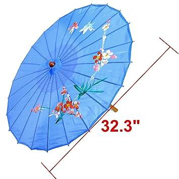 sourcing map Sombrilla Estilo Chino con Patrón de Orquídeas Danza Oriental  Azul Claro  Amazon.es  Hogar 3d7b940adf5