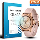 MAXSHIELD Samsung 2018 Galaxy Watch 42mm Smartwatch Tempered Glass Screen Protector, Full Coverage Flexible HD Crystal Clear Anti-Bubble Film (2 Pack)