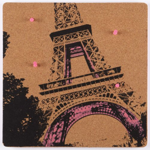 nexxt Cadoo Series 12 by 12 by 1/2-Inch Self Adhesive Silk Screened Corkboard, Paris Style (Paris Memo Board)