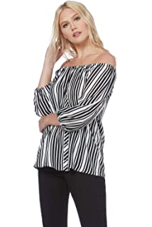 d5a8f1292ca409 Roman Originals Women Stripe Bardot Top - Ladies Off The Shoulder  Monochrome Holiday Gypsy Hippy Festival…