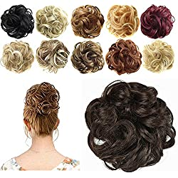 FESHFEN Synthetic Hair Bun Extensions Messy Hair Scrunchies Hair Pieces for Women Hair Donut Updo Ponytail
