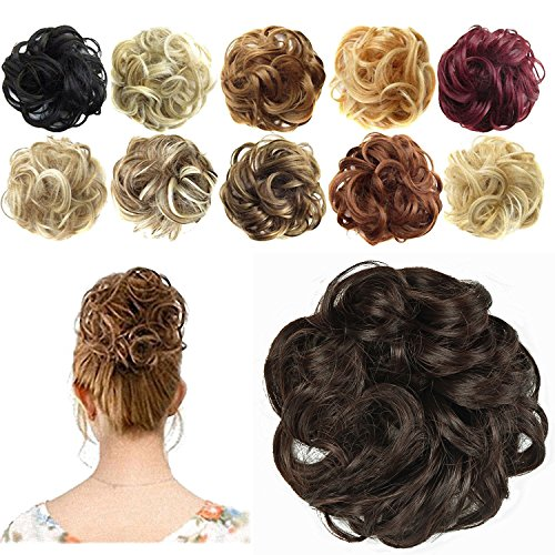 Bun Hair Extension - FESHFEN Synthetic Hair Bun Extensions Messy Hair Scrunchies Hair Pieces for Women Hair Donut Updo Ponytail