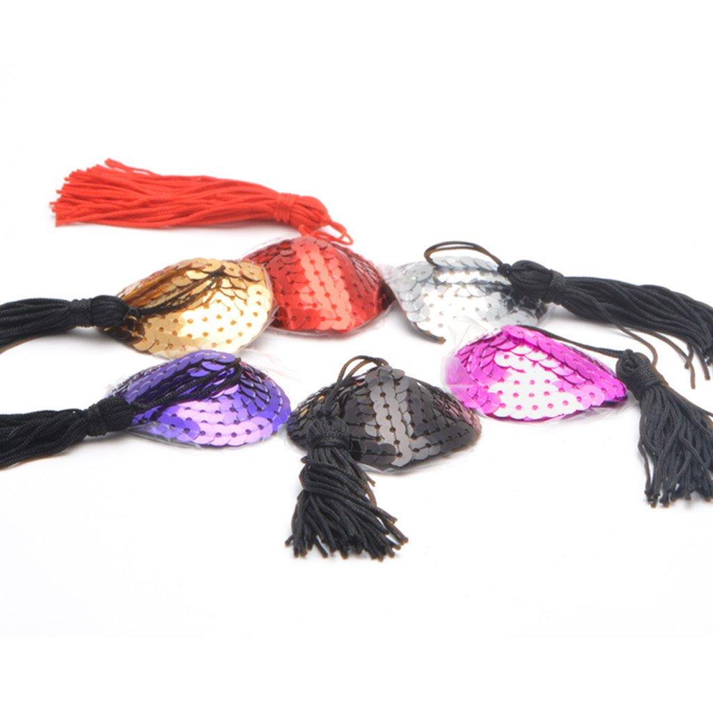 Mikini Cubrepezones con lentejuelas y borlas, 6 pares, reutilizables, estilo sexy, de silicona, con adhesivo #1 6 Pairs Talla única: Amazon.es: Ropa y ...