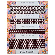 Velvet Bindi Tattoo Stickers 4 Cards of different sized Polka Dot Maroon with Crystal Adhesive Body Jewelry (N1)