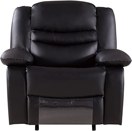 American Eagle Furniture Bayfront Collection Faux Leather Reclining Armchair with Pillow Top Armrests, Black