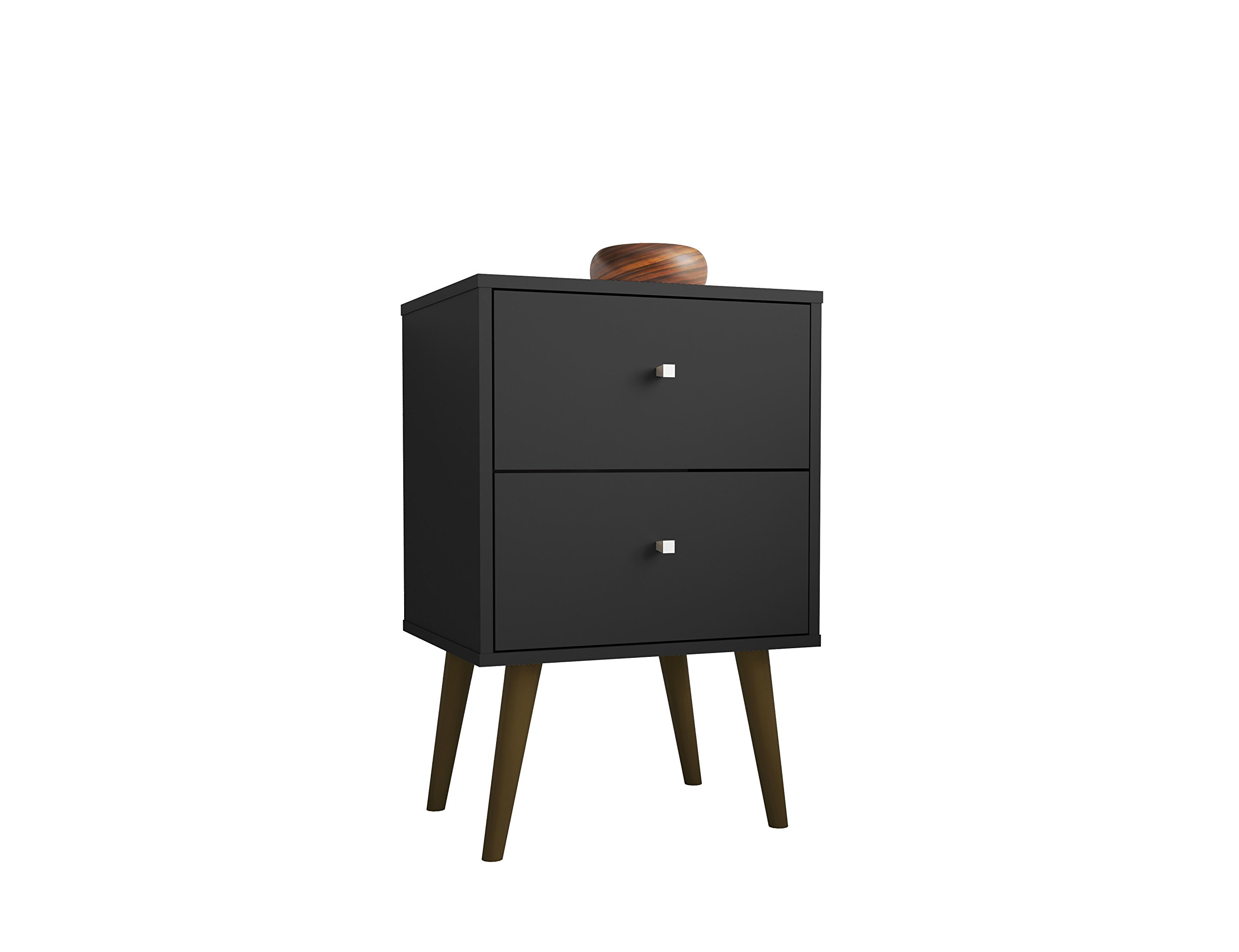Manhattan Comfort Liberty Modern 2 Drawer Bedroom Nightstand/End Table, Black by Manhattan Comfort