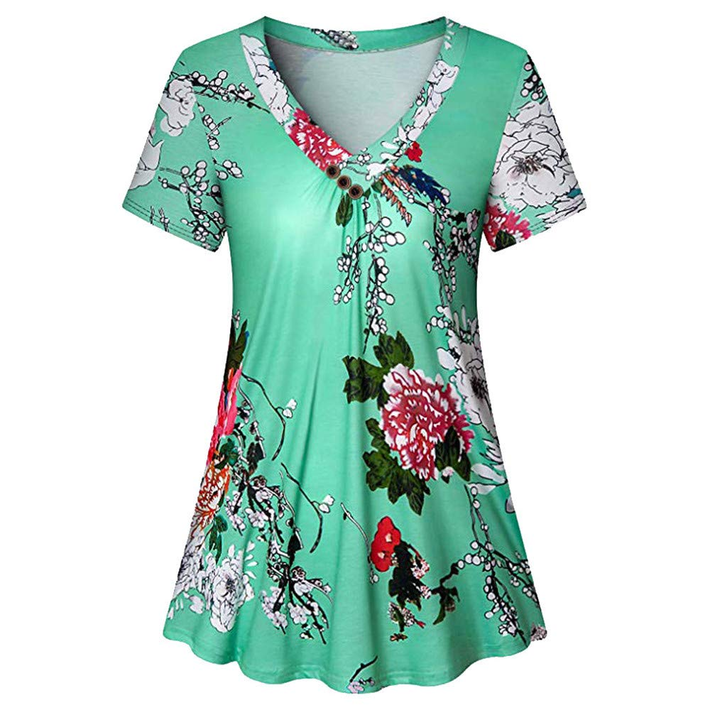 CofeeMO Women's Fashion Floral Print Short Sleeve V Neck T-Shirt Blouses,Tunic Slim Pleated Loose Casual Tees Tops(Green,S)