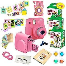 Fujifilm Instax Mini 9 Instant Camera Flamingo Pink W Fujifilm Instax Mini 9 Instant Films (60 Pack) + A14 Pc Deluxe Bundle For Fujifilm Instax Mini 9 Camera
