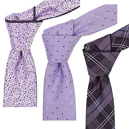 FlipMyTie Reversible Tie 3-Pack Pink & Lavender (Tie Reversible Mens)