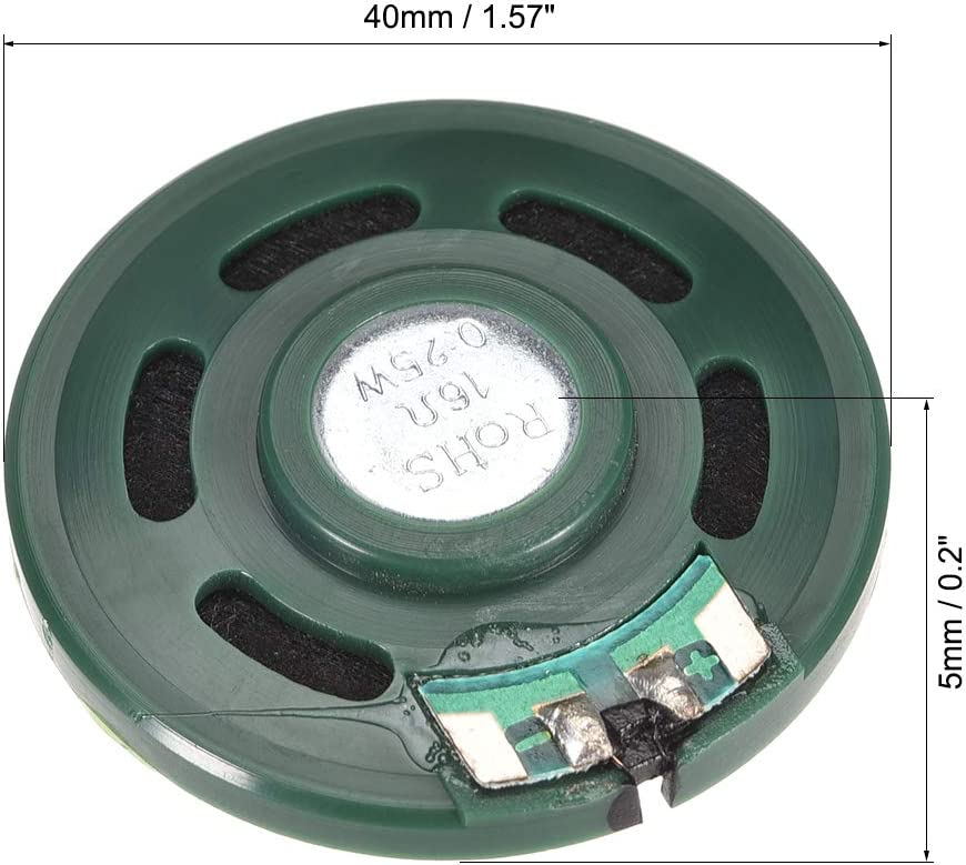 uxcell 0.25 W 16 Ohm DIY Magnetic Speaker 40mm Round-Shape Replacement Loudspeaker Green 4pcs