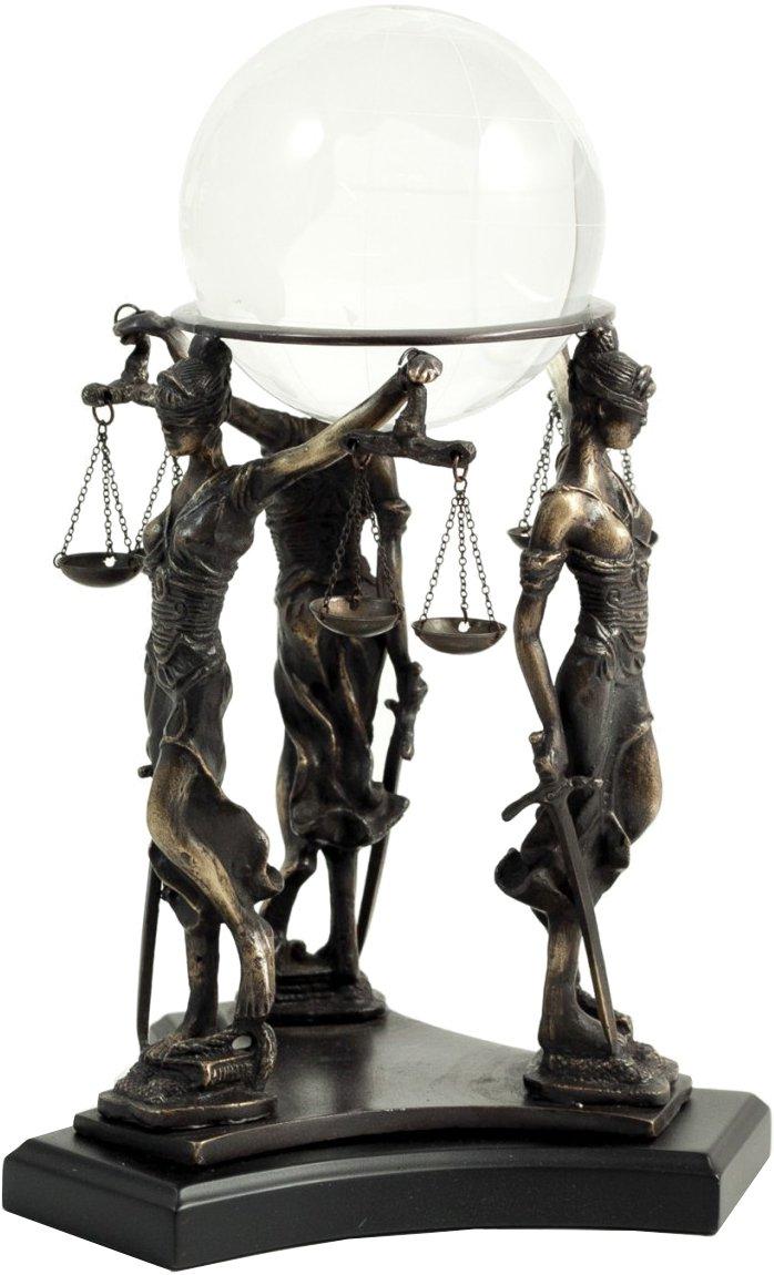 Bey-Berk R62L Three Bronze Standing Lady Justice Ball Holder on Black Wood Base,