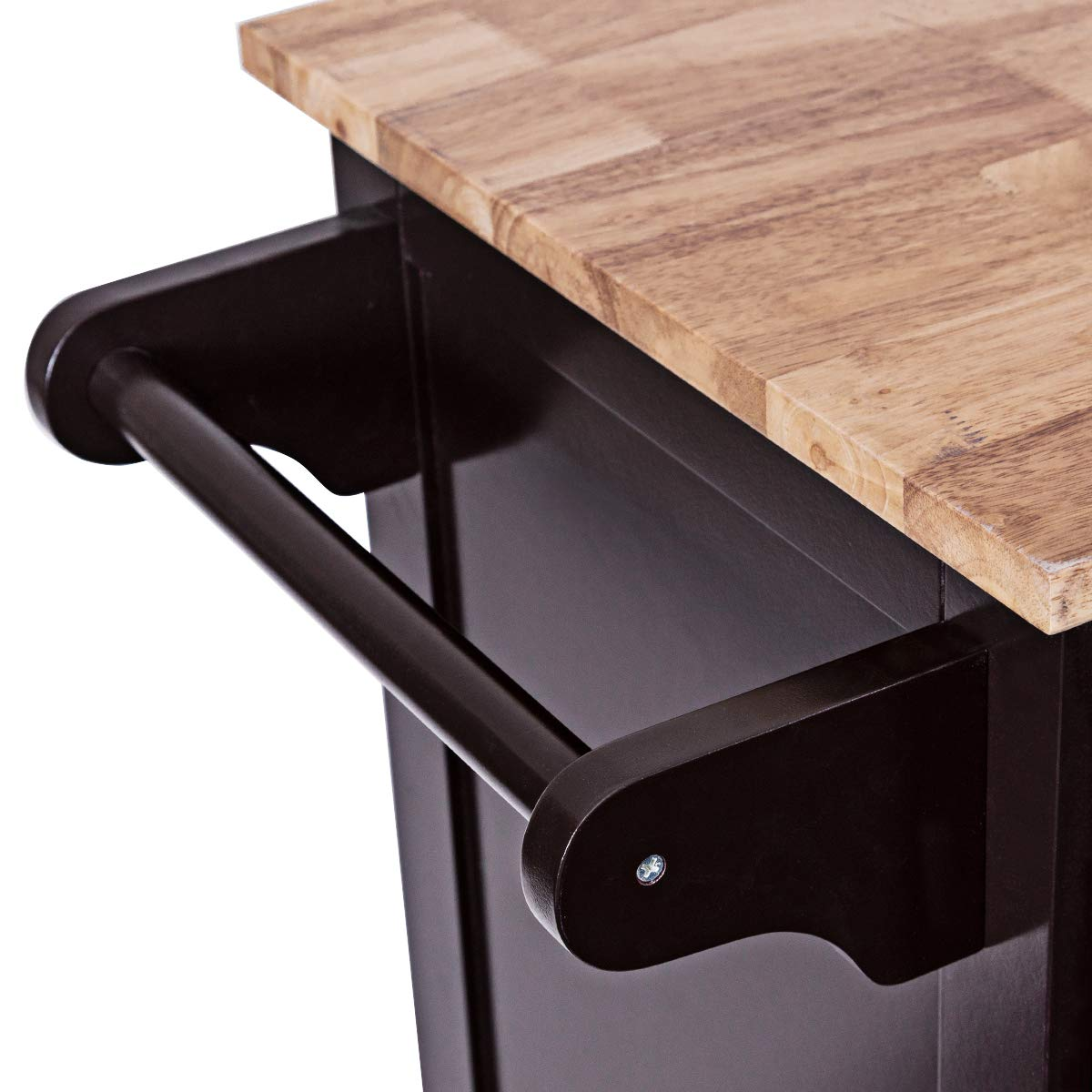 Giantex Kitchen Island Cart Rolling Storage Trolley Cart Home and Restaurant Serving Utility Cart with Drawers,Cabinet, Towel Rack and Wood Top by Giantex (Image #8)