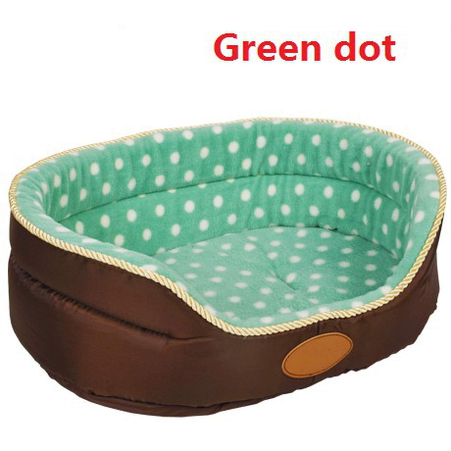 Green dot bed L 80x70x22cmBig Size Extra Large Dog Bed House Sofa Two Sides Congreenible All Seasons Kennel Soft Fleece Pet Dog Cat Warm Bed S M L, Green dot Bed,L 80x70x22cm