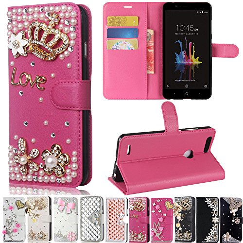 Lily Cell Phone Snap - ZTE Blade Z Max/Z982, ZTE ZMax Pro 2/ZTE Sequoia Case, Best Share Manual Bling Flip Stand PU Leather Wallet Full Cover Silicone Case Card Slot, Rose Red-Crown Love