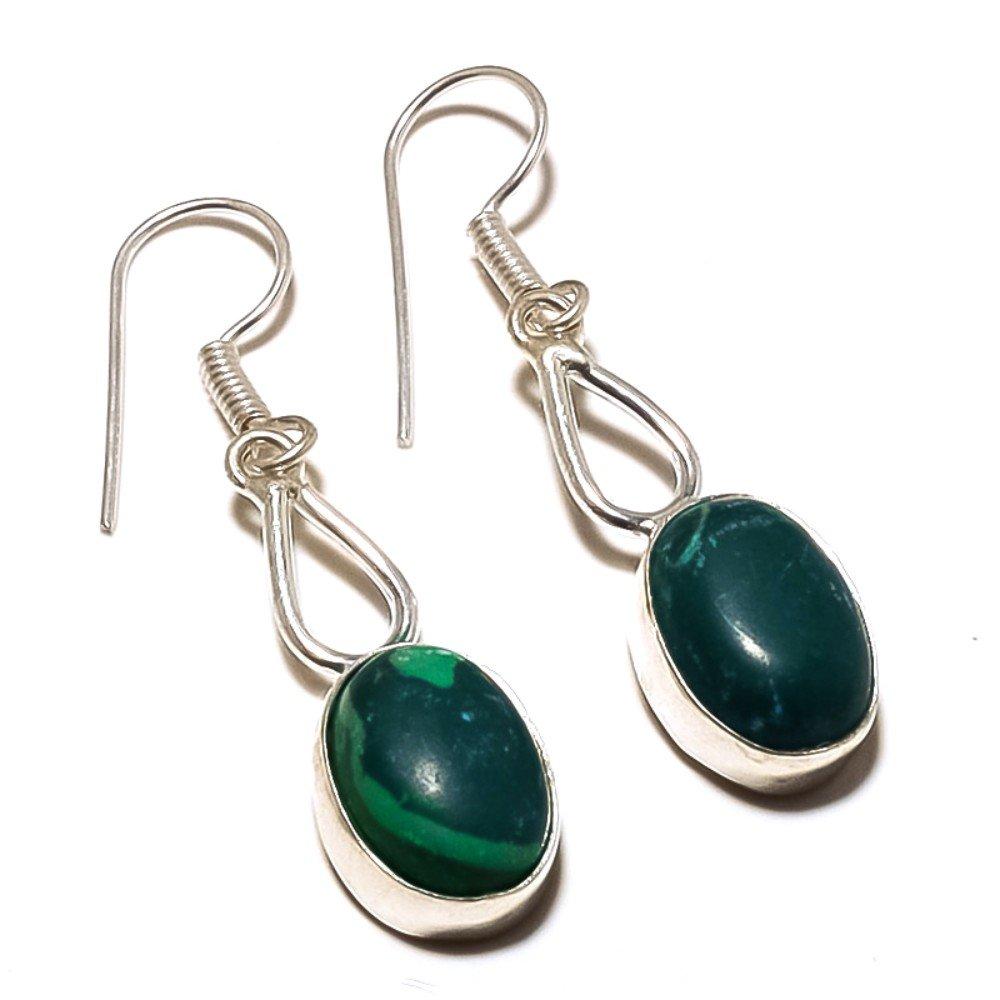 Green Malachite Sterling Silver Overlay Earring 1.75 Handmade Jewelry Latest Design
