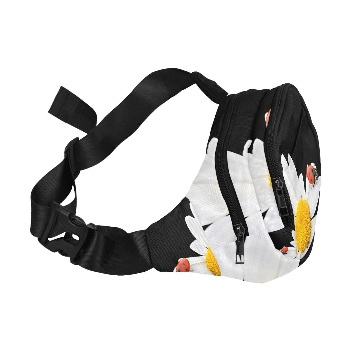 Ladybug On Spring Flowers Fenny Packs Waist Bags Adjustable Belt Waterproof Nylon Travel Running Sport Vacation Party For Men Women Boys Girls Kids