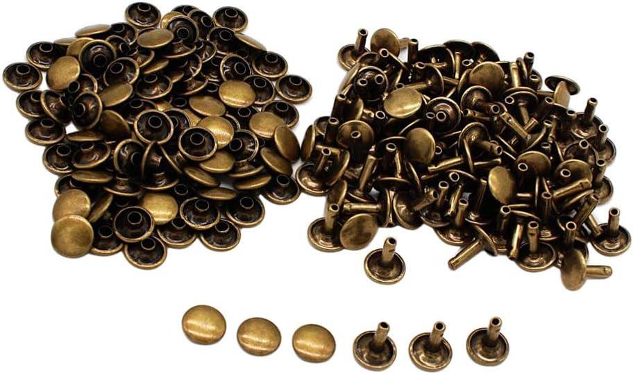 100 Unids Metal Doble Cara Remaches Tubulares Stud para La Bolsa De Cuero Bolsa De Ropa Bronce 8x8mm