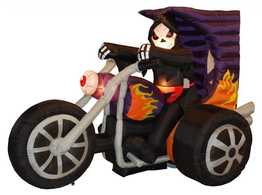 amazoncom 7 foot long halloween inflatable grim reaper on motorcycle 2013 yard decoration home kitchen - Inflatable Halloween Yard Decorations