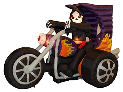 BZB Goods 7 Foot Long Halloween Inflatable Grim Reaper on Motorcycle Lights Decor Outdoor Indoor Holiday Decorations, Blow up Lighted Yard Decor, Lawn Inflatables Home Family Outside