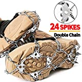 24 Spikes Crampons Ice Cleats Traction Snow Grips for Boots Shoes,Anti-Slip Stainless Steel
