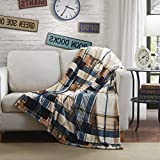Tache Tartan Plaid Blue Brown Super Soft Winter Cabin Bed Throw Blanket, 90 x 90