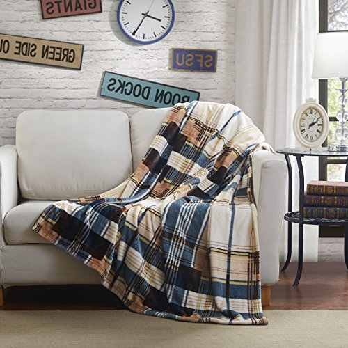 Tache Tartan Plaid Brown Super Soft Warm Winter Cabin Bed Throw Blanket, 80 x 90