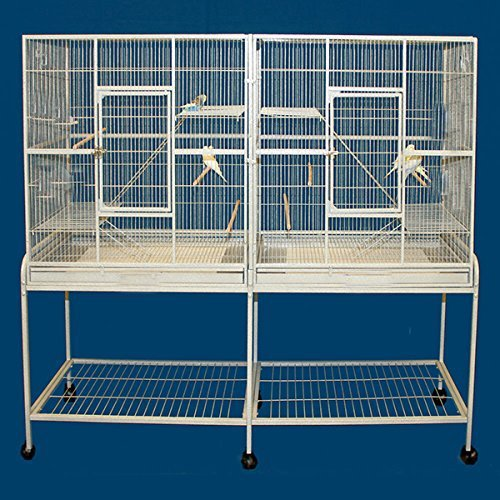 Large Double Flight Bird Wrought Iron Double Cage on Wheels